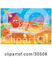 Clipart Illustration Of An Orange Octopus Wearing A Pirates Hat And Inspecting A Treasure Chest Of Jewels And Gold