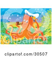 Clipart Illustration Of An Orange Octopus Wearing A Captains Hat And Smoking A Tobacco Pipe by Alex Bannykh