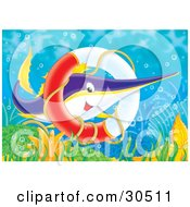 Poster, Art Print Of Purple Yellow And White Swordfish Swimming Through A Sunken Life Saver Ring