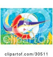 Poster, Art Print Of Purple Yellow And White Swordfish Swimming Through A Sunken Life Saver Ring