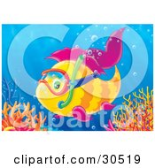 Poster, Art Print Of Yellow Fish With Purple Fins Wearing Snorkel Gear And Exploring Near A Reef