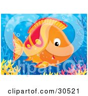 Clipart Illustration Of A Friendly Orange And Red Fish Swimming Near A Reef