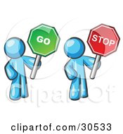 Clipart Illustration Of Light Blue Men Holding Red And Green Stop And Go Signs
