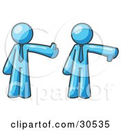 Clipart Illustration Of A Light Blue Business Man Giving The Thumbs Up Then The Thumbs Down