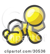 Clipart Illustration Of A Yellow Baby In A Diaper Crawling On The Floor On A White Background