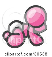 Clipart Illustration Of A Pink Baby In A Diaper Crawling On The Floor On A White Background by Leo Blanchette