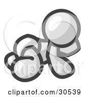 Clipart Illustration Of A White Baby In A Diaper Crawling On The Floor On A White Background by Leo Blanchette