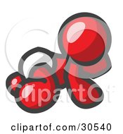 Clipart Illustration Of A Red Baby In A Diaper Crawling On The Floor On A White Background by Leo Blanchette