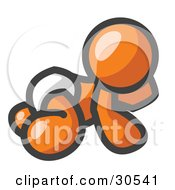 Clipart Illustration Of An Orange Baby In A Diaper Crawling On The Floor On A White Background by Leo Blanchette