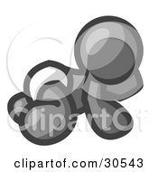 Clipart Illustration Of A Gray Baby In A Diaper Crawling On The Floor On A White Background by Leo Blanchette