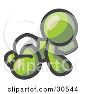Clipart Illustration Of An Olive Green Baby In A Diaper Crawling On The Floor On A White Background