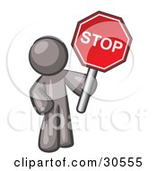 Clipart Illustration Of A Gray Man Holding A Red Stop Sign
