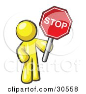 Clipart Illustration Of A Yellow Man Holding A Red Stop Sign