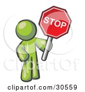 Olive Green Man Holding A Red Stop Sign