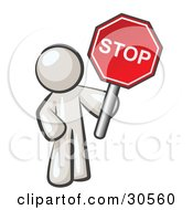 Clipart Illustration Of A White Man Holding A Red Stop Sign by Leo Blanchette