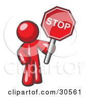 Clipart Illustration Of A Red Man Holding A Red Stop Sign