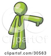 Clipart Illustration Of An Olive Green Business Man Giving The Thumbs Up Then The Thumbs Down by Leo Blanchette