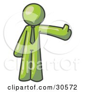 Clipart Illustration Of An Olive Green Business Man Giving The Thumbs Up by Leo Blanchette