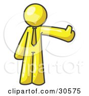 Clipart Illustration Of A Yellow Business Man Giving The Thumbs Up by Leo Blanchette