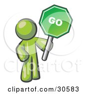 Clipart Illustration Of An Olive Green Man Holding Up A Green Go Sign On A White Background by Leo Blanchette