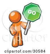 Clipart Illustration Of An Orange Man Holding Up A Green Go Sign On A White Background by Leo Blanchette