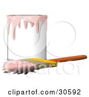 Clipart Illustration Of A Wood Handled Paintbrush With Pink Paint On The Bristles Resting In Front Of A Can Of Pink Paint