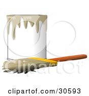 Clipart Illustration Of A Wood Handled Paintbrush With Brown Paint On The Bristles Resting In Front Of A Can Of Brown Paint