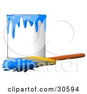 Wood Handled Paintbrush With Blue Paint On The Bristles Resting In Front Of A Can Of Blue Paint
