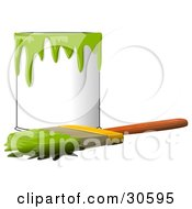 Clipart Illustration Of A Wood Handled Paintbrush With Green Paint On The Bristles Resting In Front Of A Can Of Green Paint