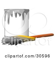 Clipart Illustration Of A Wood Handled Paintbrush With Gray Paint On The Bristles Resting In Front Of A Can Of Gray Paint