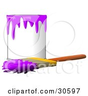 Wood Handled Paintbrush With Purple Paint On The Bristles Resting In Front Of A Can Of Purple Paint