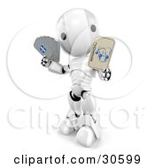 Silver And White Ao-Maru Robot Holding A Joker Playing Card