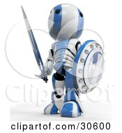 Clipart Illustration Of A Blue AO Maru Robot Warrior Looking Off And Standing With A Shield And Sword