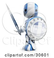 Clipart Illustration Of A Blue AO Maru Robot Protecting With A Shield And Sword