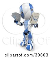 Clipart Illustration Of A Silver And White AO Maru Robot Holding A Joker Playing Card by Leo Blanchette