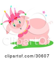 Clipart Illustration Of A Friendly Pink Pig Wearing A Jester Hat And Standing In Grass by bpearth