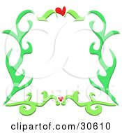 Clipart Illustration Of A Green Plant Like Border With Two Red Hearts Around A White Background by bpearth