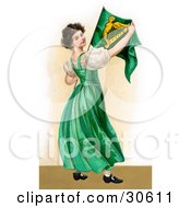 Vintage Victorian St Patricks Day Scene Of A Patriotic Young Irish Lady Wearing A Green Dress Holding An Irish Flag Circa 1907