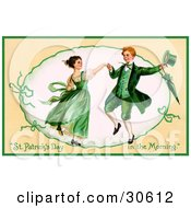 Clipart Illustration Of A Vintage Victorian St Patricks Day Scene Of A Happy Young Irish Couple Dressed In Green And Dancing Circa 1909