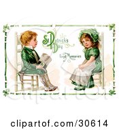 Clipart Illustration Of A Vintage Victorian St Patricks Day Scene Of An Irish Boy And Girl Dressed In Green And Sitting In Chairs Across From Each Other Circa 1911