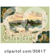 Clipart Illustration Of A Vintage Victorian St Patricks Day Scene Of Clovers Around Ross Castle In Killarney Ireland Circa 1913