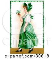 Clipart Illustration Of A Vintage Victorian St Patricks Day Scene Of A Young Irish Lady In A Green Dress And Bonnet Carrying A Small Plant Circa 1907