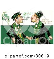 Vintage Victorian St Patricks Day Scene Of Two Friendly Irish Men Dressed In Green Touching Tobacco Pipes And Shaking Hands Circa 1910