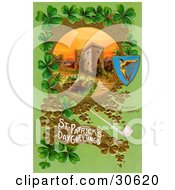 Clipart Illustration Of A Vintage Victorian St Patricks Day Scene Of Irelands Blarney Castle Surrounded By Gold And Green Clovers Circa 1910 by OldPixels