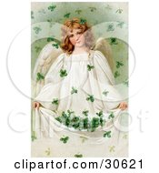 Clipart Illustration Of A Vintage Victorian St Patricks Day Scene Of A Beautiful Young Irish Angel Holding Up Her Gown To Catch Falling Clovers Circa 1909