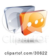 Clipart Illustration Of A Pre Made Logo Of Gray And Orange Chat Windows