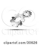 Clipart Illustration Of A Pre Made Logo Of Shiny Silver Gears