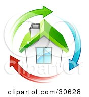 Clipart Illustration Of A Circle Of Green Blue And Red Arrows Around A Small White House With A Green Roof by beboy #COLLC30628-0058