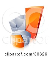Clipart Illustration Of An Orange And Chrome Pie Chart In Front Of A Growing Bar Graph
