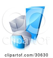 Clipart Illustration Of A Blue And Chrome Pie Chart In Front Of A Growing Bar Graph